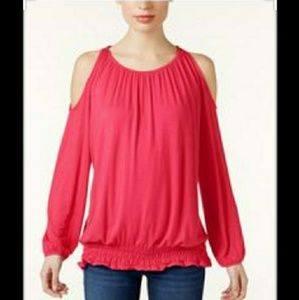 NWT-Plus Size Cold Shoulder Long Sleeve Coral Top